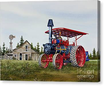 Canvas Print featuring the painting Advance Rumely Steam Traction Engine by James Williamson