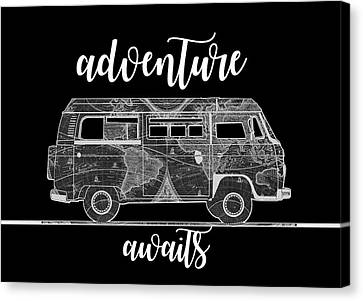 Old Map Canvas Print - Adventure Awaits World Map Design 2 by Bekim Art