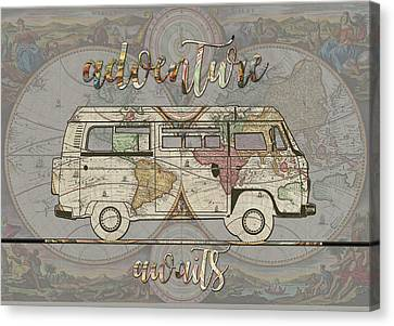 Old Map Canvas Print - Adventure Awaits World Map Design 4 by Bekim Art