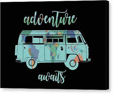 Old Map Canvas Print - Adventure Awaits World Map Design 7 by Bekim Art