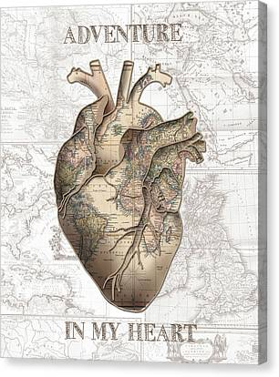 Old Map Canvas Print - Adventure Heart by Bekim Art