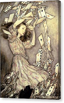Shower Canvas Print - Adventures In Wonderland by Arthur Rackham