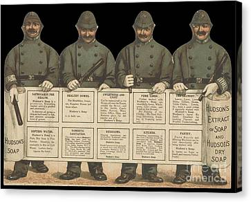 Policeman Canvas Print - Advertisement For Hudson's Soap With Policemen by Celestial Images