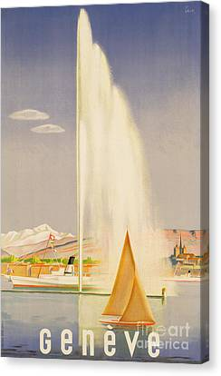 Advertisement For Travel To Geneva Canvas Print by Fehr