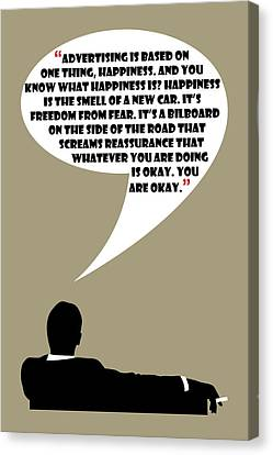 Advertising Is Happiness - Mad Men Poster Don Draper Quote Canvas Print