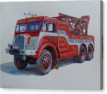 Canvas Print featuring the painting Aec Militant Dennis's. by Mike Jeffries