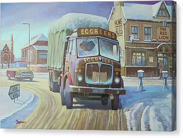 Snowscape Canvas Print - Aec Tinfront In The Snow. by Mike Jeffries