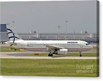 Canvas Print featuring the photograph Aegean Airbus A320 Sx-dvt  by Amos Dor