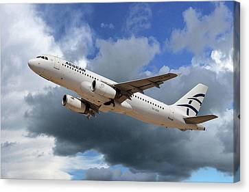 Airlines Canvas Print - Aegean Airlines Airbus A320-232 by Nichola Denny