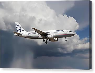 Corfu Canvas Print - Aegian Airlines by Nichola Denny