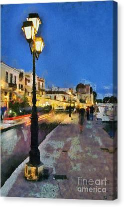 Aegina Harbor During Dusk Time Canvas Print