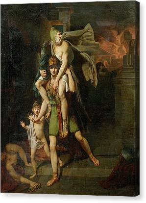 Aeneas Fleeing With His Father Canvas Print by MotionAge Designs