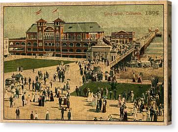 Aerial Birds Eye View Of Long Beach Pier And Beachfront California Circa 1895 Canvas Print by Design Turnpike
