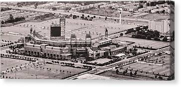 Aerial - Citizens Bank Park In Black And White Canvas Print by Bill Cannon