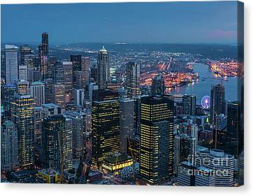 Aerial Downtown Seattle Dusk Details Canvas Print by Mike Reid