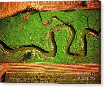 Aerial Farm Stream Canvas Print