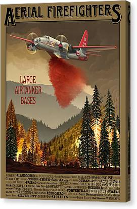 Vintage Aircraft Canvas Print - Aerial Firefighters Large Airtanker Bases by Airtanker Art