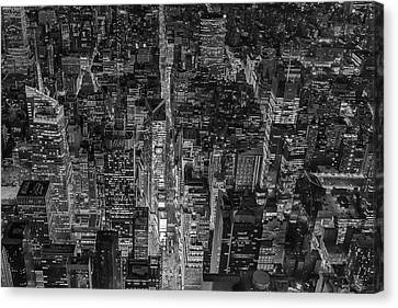 Aerial New York City 42nd Street Bw Canvas Print by Susan Candelario