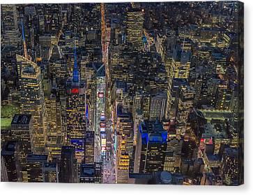 New York City Skyline Canvas Print - Aerial New York City 42nd Street by Susan Candelario