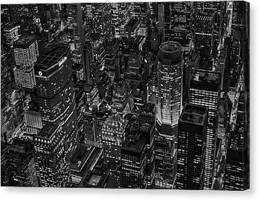 Times Square Canvas Print - Aerial New York City Skyscrapers Bw by Susan Candelario
