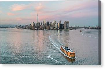 Aerial New York Sunset Canvas Print by Michael Lee