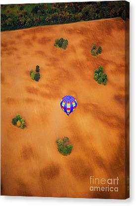 Aerial Of Hot Air Balloon Above Tilled Field Fall Canvas Print