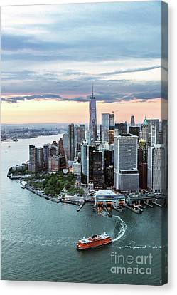 Staten Island Ferry Canvas Print - Aerial Of Lower Manhattan Skyline With Staten Island Ferry Boat, by Matteo Colombo