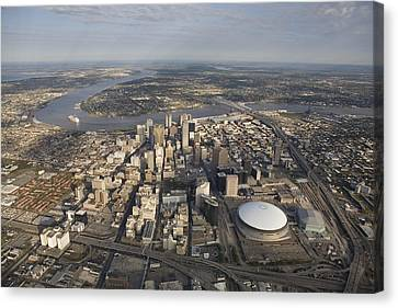 Aerial Of New Orleans Looking East Canvas Print by Tyrone Turner