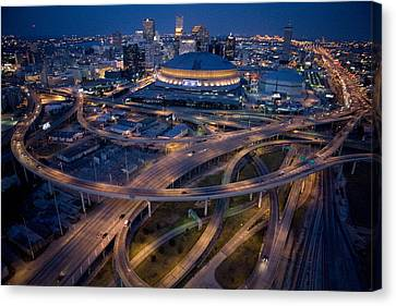 Southern States Canvas Print - Aerial Of The Superdome In The Downtown by Tyrone Turner