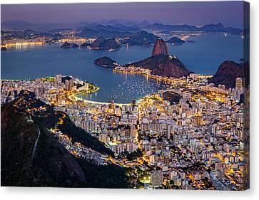 Canvas Print featuring the photograph Aerial Rio by Mihai Andritoiu