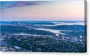 Northwest Canvas Print - Aerial Seattle Dusk View by Mike Reid