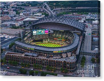 Aerial Seattle Safeco Field Mariners Canvas Print by Mike Reid
