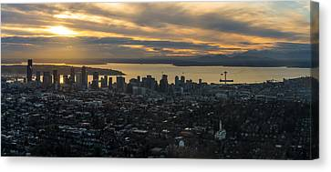 Aerial Seattle Skyline Panorama Looking West Canvas Print by Mike Reid