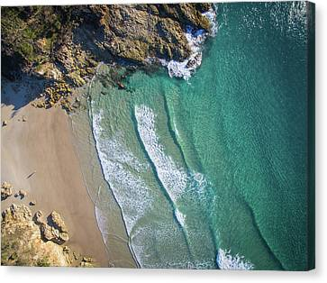 Aerial Shot Of Honeymoon Bay On Moreton Island Canvas Print