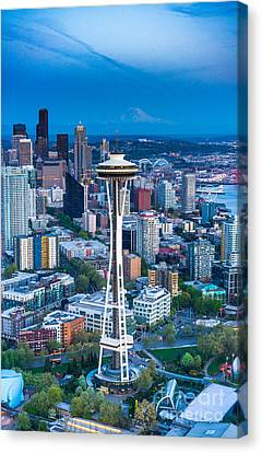 Aerial Space Needle Downtown Seattle And Rainier Canvas Print by Mike Reid