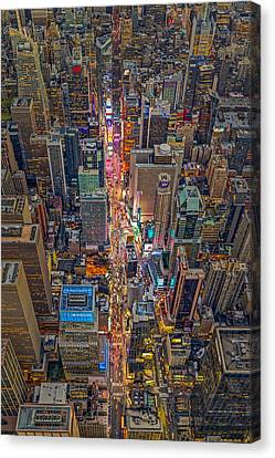 Aerial Times Square New York City  Canvas Print by Susan Candelario
