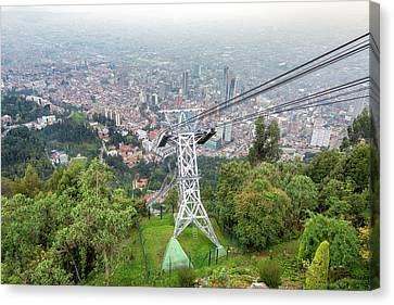 Aerial Tramway And Bogota, Colombia Canvas Print by Jess Kraft