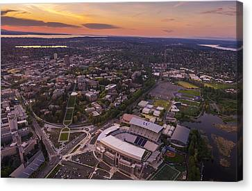 Aerial University Of Washington Campus At Sunset Canvas Print by Mike Reid