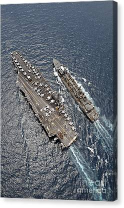 Aerial View Of Aircraft Carrier Uss Canvas Print by Stocktrek Images
