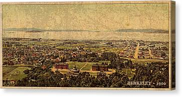 Aerial View Of Berkeley California In 1900 On Worn Distressed Canvas Canvas Print by Design Turnpike