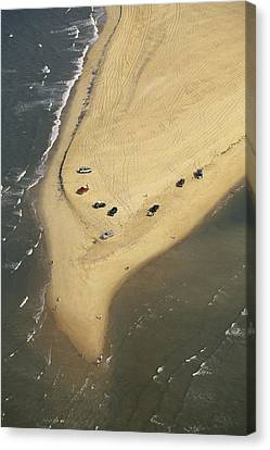 Aerial View Of Cars On The Coast Canvas Print by Steve Winter