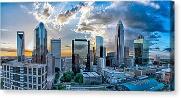 Aerial View Of Charlotte City Skyline At Sunset Canvas Print by Alex Grichenko
