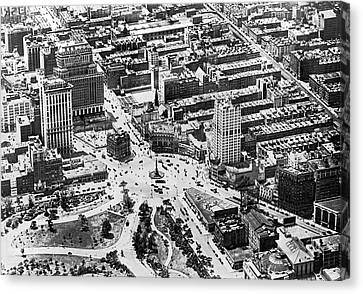 Aerial View Of Columbus Circle Canvas Print by Underwood Archives
