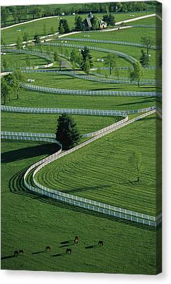 Aerial View Of Donamire Farms Fenced Canvas Print by Melissa Farlow