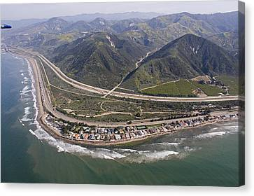 Aerial View Of Highway 1 As It Meets Canvas Print by Rich Reid