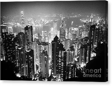 Aerial View Of Hong Kong Island At Night From The Peak Hksar China Canvas Print by Joe Fox