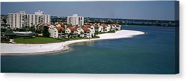 Aerial View Of Hotels On The Beach Canvas Print by Panoramic Images