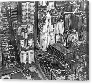 Aerial View Of Lower Manhattan Canvas Print by Underwood & Underwood