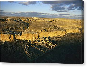 Aerial View Of Pueblo Bonito In Chaco Canvas Print by Ira Block