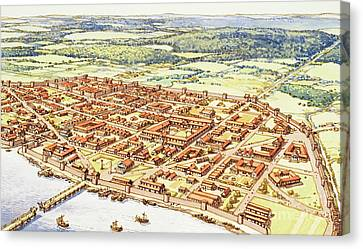 Aerial View Of Roman London Canvas Print by Pat Nicolle